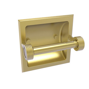 Continental Satin Brass Six-Inch Recessed Toilet Tissue Holder with Groovy Accents