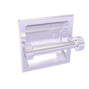Continental Satin Chrome Six-Inch Recessed Toilet Tissue Holder with Groovy Accents