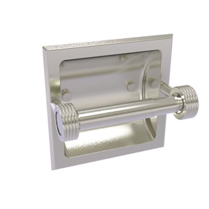Continental Satin Nickel Six-Inch Recessed Toilet Tissue Holder with Groovy Accents
