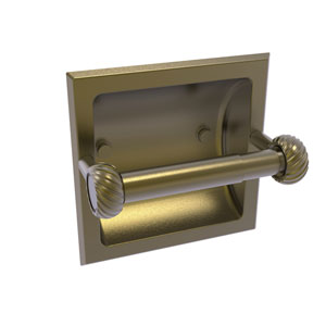 Continental Antique Brass Six-Inch Recessed Toilet Tissue Holder with Twisted Accents