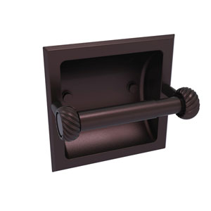 Continental Antique Bronze Six-Inch Recessed Toilet Tissue Holder with Twisted Accents