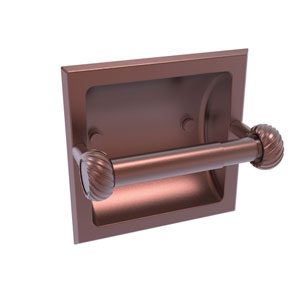 Continental Antique Copper Six-Inch Recessed Toilet Tissue Holder with Twisted Accents