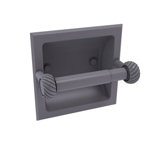 Continental Matte Gray Six-Inch Recessed Toilet Tissue Holder with Twisted Accents