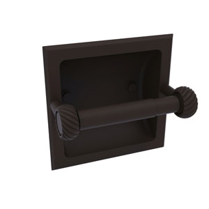 Continental Oil Rubbed Bronze Six-Inch Recessed Toilet Tissue Holder with Twisted Accents