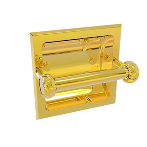 Continental Polished Brass Six-Inch Recessed Toilet Tissue Holder with Twisted Accents