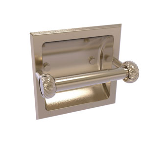 Continental Antique Pewter Six-Inch Recessed Toilet Tissue Holder with Twisted Accents