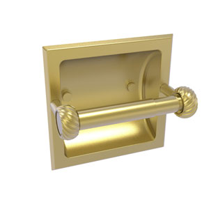 Continental Satin Brass Six-Inch Recessed Toilet Tissue Holder with Twisted Accents