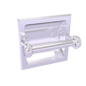 Continental Satin Chrome Six-Inch Recessed Toilet Tissue Holder with Twisted Accents