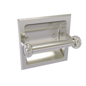 Continental Satin Nickel Six-Inch Recessed Toilet Tissue Holder with Twisted Accents