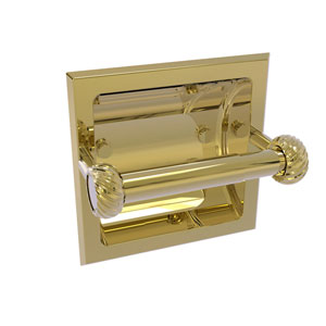 Continental Unlacquered Brass Six-Inch Recessed Toilet Tissue Holder with Twisted Accents