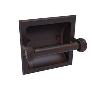 Continental Venetian Bronze Six-Inch Recessed Toilet Tissue Holder with Twisted Accents
