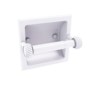 Continental Matte White Six-Inch Recessed Toilet Tissue Holder with Twisted Accents
