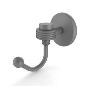 Satellite Orbit One Matte Gray Three-Inch Robe Hook with Groovy Accents