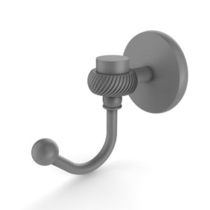 Satellite Orbit One Matte Gray Three-Inch Robe Hook with Twisted Accents