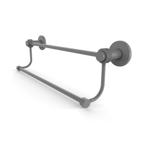 Mercury Matte Gray 36-Inch Double Towel Bar with Groovy Accents