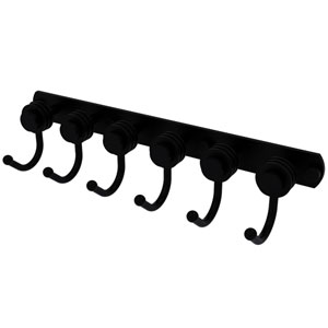 Mercury Matte Black Four-Inch Six-Position Tie and Belt Rack with Dotted Accent