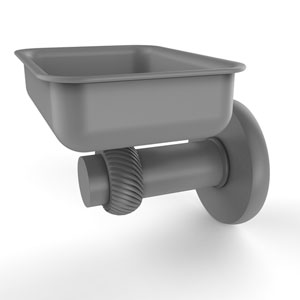 Mercury Matte Gray Four-Inch Wall Mounted Soap Dish with Twisted Accents