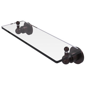Astor Place Antique Bronze 16-Inch Glass Vanity Shelf with Beveled Edges