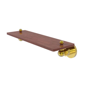 Astor Place Polished Brass 16-Inch Solid IPE Ironwood Shelf