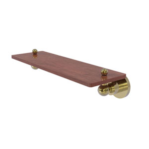 Astor Place Unlacquered Brass 16-Inch Solid IPE Ironwood Shelf
