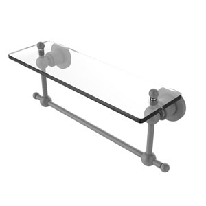 Astor Place Matte Gray 16-Inch Glass Vanity Shelf with Integrated Towel Bar