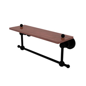 Astor Place Matte Black 16-Inch Solid IPE Ironwood Shelf with Integrated Towel Bar
