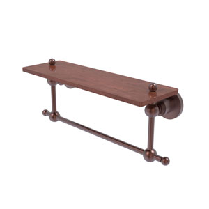 Astor Place Antique Copper 16-Inch Solid IPE Ironwood Shelf with Integrated Towel Bar