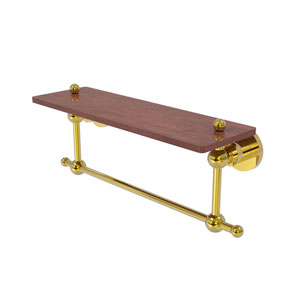 Astor Place Polished Brass 16-Inch Solid IPE Ironwood Shelf with Integrated Towel Bar
