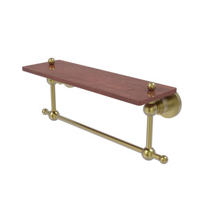 Astor Place Satin Brass 16-Inch Solid IPE Ironwood Shelf with Integrated Towel Bar