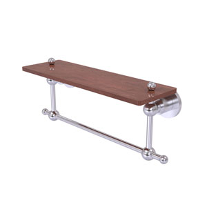 Astor Place Satin Chrome 16-Inch Solid IPE Ironwood Shelf with Integrated Towel Bar