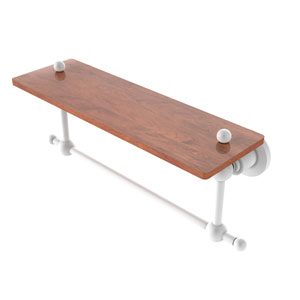 Astor Place Matte White 16-Inch Solid IPE Ironwood Shelf with Integrated Towel Bar