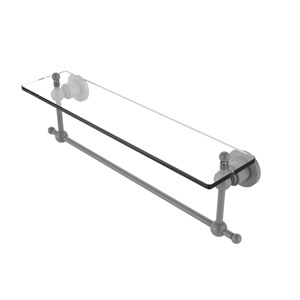 Astor Place Matte Gray 22-Inch Glass Vanity Shelf with Integrated Towel Bar