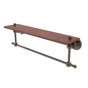 Astor Place Antique Brass 22-Inch Solid IPE Ironwood Shelf with Integrated Towel Bar