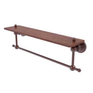 Astor Place Antique Copper 22-Inch Solid IPE Ironwood Shelf with Integrated Towel Bar
