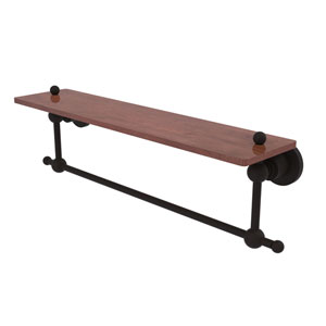 Astor Place Oil Rubbed Bronze 22-Inch Solid IPE Ironwood Shelf with Integrated Towel Bar