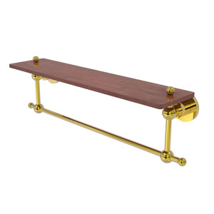Astor Place Polished Brass 22-Inch Solid IPE Ironwood Shelf with Integrated Towel Bar