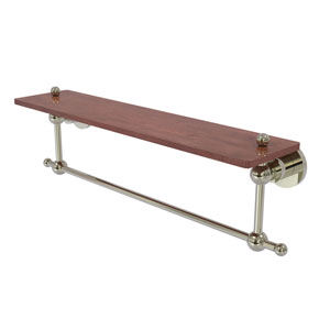 Astor Place Polished Nickel 22-Inch Solid IPE Ironwood Shelf with Integrated Towel Bar