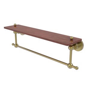 Astor Place Satin Brass 22-Inch Solid IPE Ironwood Shelf with Integrated Towel Bar