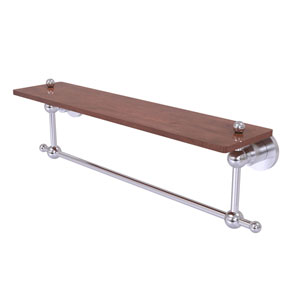 Astor Place Satin Chrome 22-Inch Solid IPE Ironwood Shelf with Integrated Towel Bar