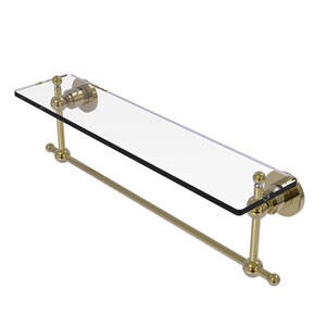 Astor Place Unlacquered Brass 22-Inch Glass Vanity Shelf with Integrated Towel Bar