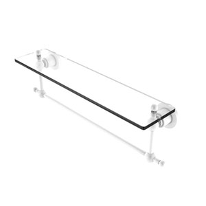 Astor Place Matte White 22-Inch Glass Vanity Shelf with Integrated Towel Bar