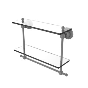 Astor Place Matte Gray 16-Inch Two Tiered Glass Shelf with Integrated Towel Bar