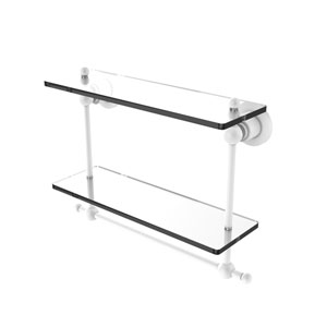 Astor Place Matte White 16-Inch Two Tiered Glass Shelf with Integrated Towel Bar