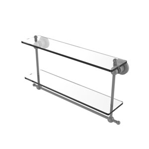 Astor Place Matte Gray 22-Inch Two Tiered Glass Shelf with Integrated Towel Bar