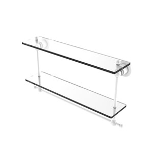 Astor Place Matte White 22-Inch Two Tiered Glass Shelf with Integrated Towel Bar