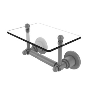 Astor Place Matte Gray Six-Inch Two Post Toilet Tissue Holder with Glass Shelf