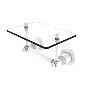 Astor Place Matte White Six-Inch Two Post Toilet Tissue Holder with Glass Shelf