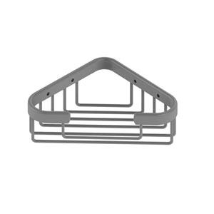 Matte Gray Four-Inch Corner Soap Basket