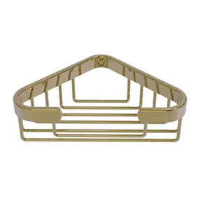 Unlacquered Brass Four-Inch Corner Soap Basket