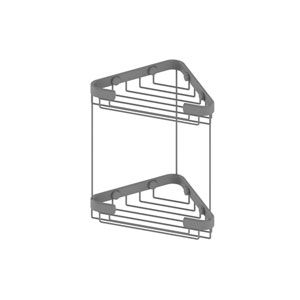 Matte Gray Six-Inch Double Tier Corner Shower Basket